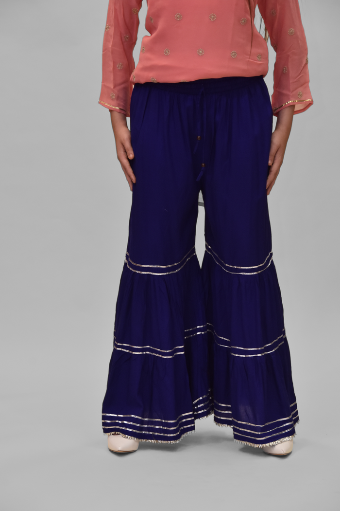 Cotton Silk Navy Blue Sharara pants