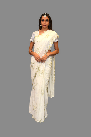 Silk Georgette Embroidered White Saree