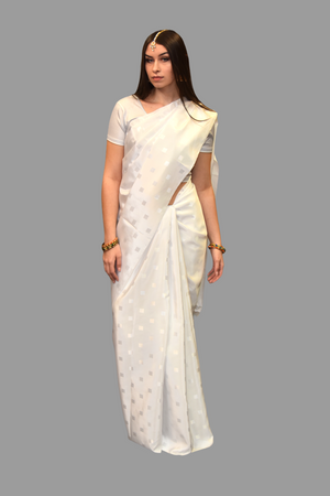Silk Self Printed White Saree