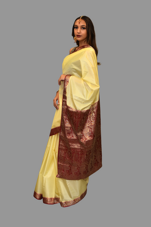 Silk Beige Gold Saree With Contrast Maroon Border