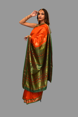Silk Orange Saree With Contrast Green Border