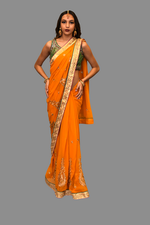 Silk Georgette Embroidered Tangerine Orange Saree