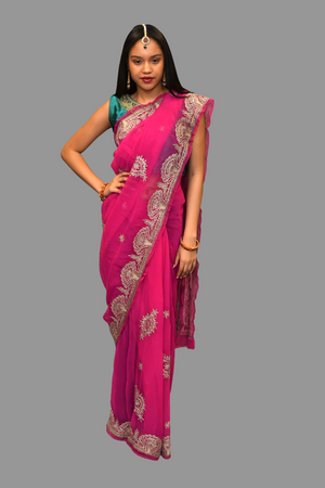 Silk Embroidered Fuchsia Pink Saree