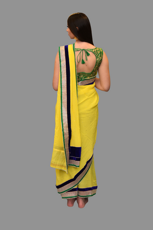 Silk Georgette Bright Yellow Saree With Contrast Navy Blue Border