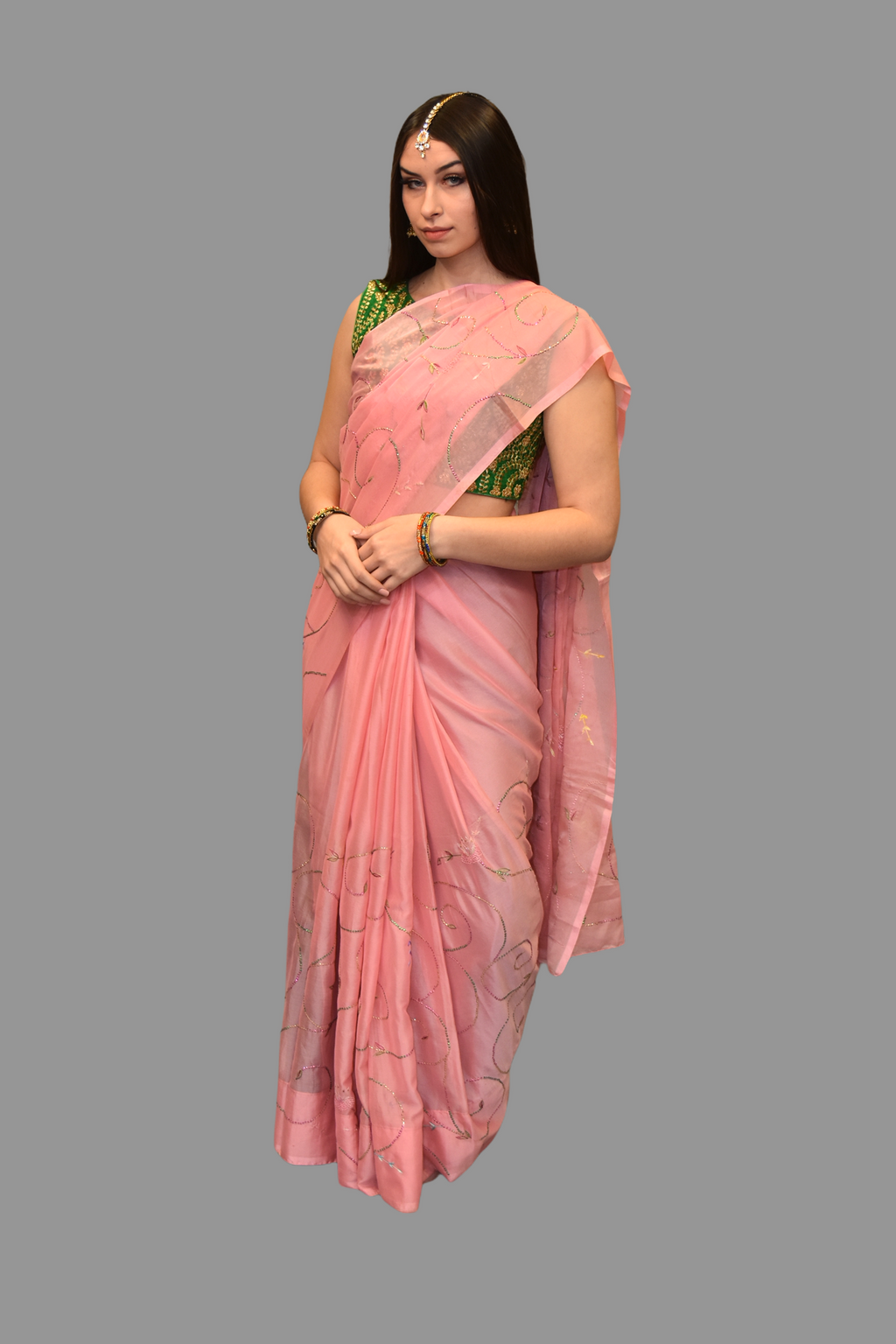 Silk Embroidered Pink Saree