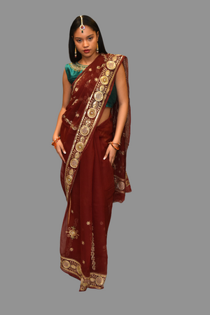 Silk Embroidered Georgette Burgundy Red Saree