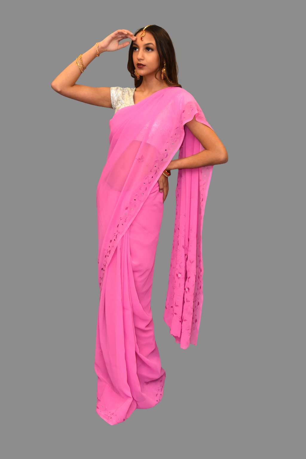 Silk Georgette Embroidered Pink Saree