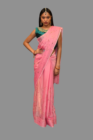 Silk Embroidered Light Pink Saree