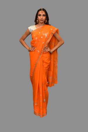 Silk Embroidered Tangerine Orange Saree
