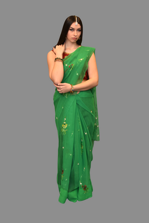 Silk Embroidered Georgette Green Saree