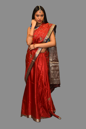Silk Embroidered Ruby Red With Contrast Chocolate Brown Border Saree