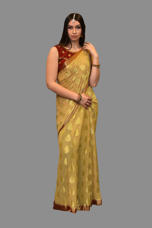 Silk Chiffon Mellow Gold Saree With Maroon Border