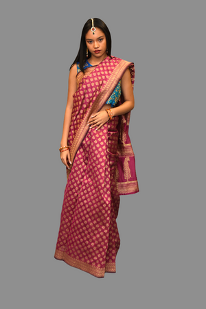 Cotton Silk Printed Fuchsia Pink Saree