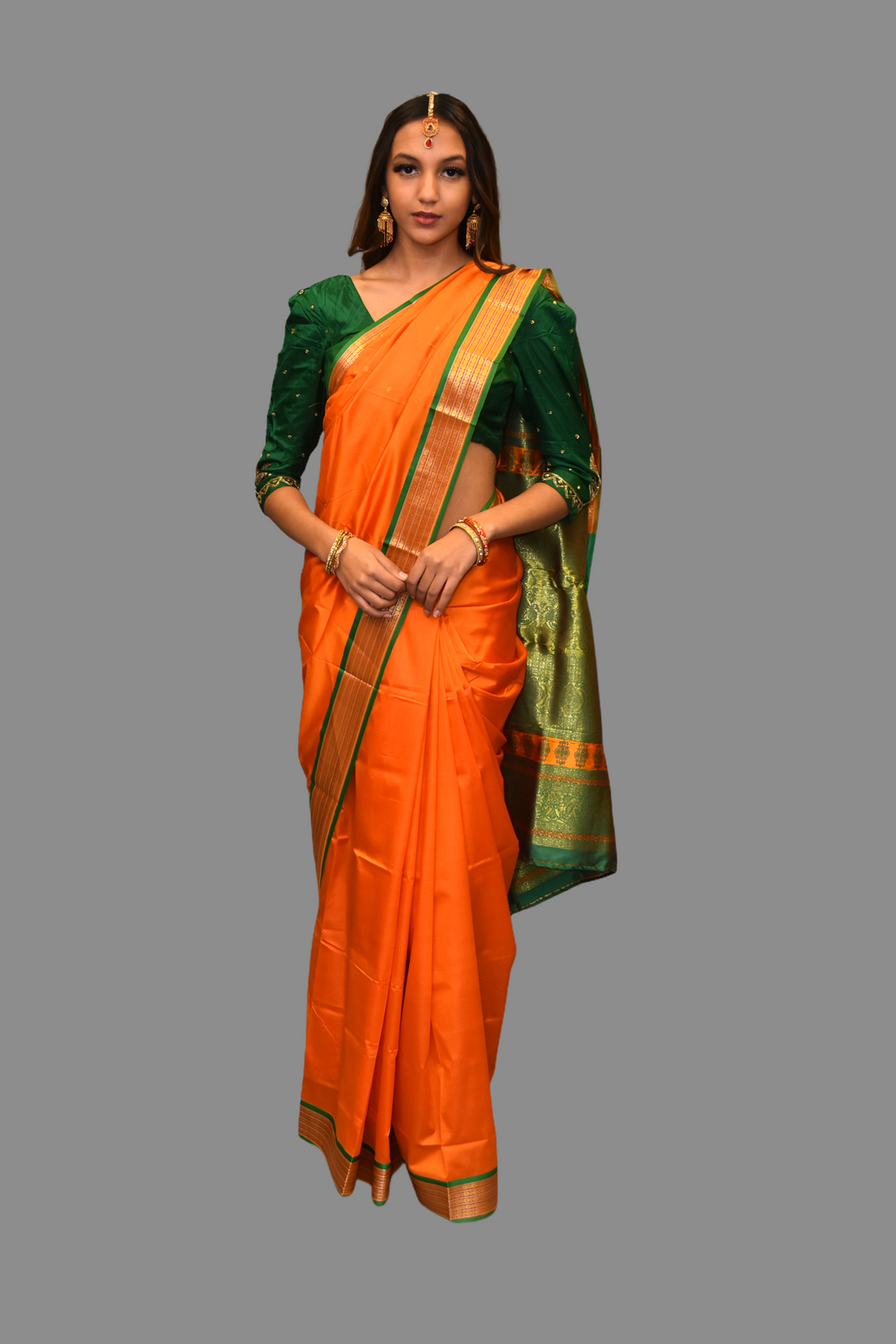 Silk Carrot Orange Saree With Contrast Green Pallu