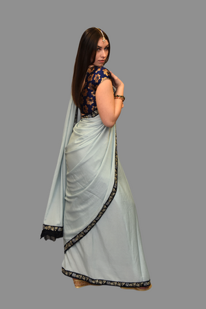 Light Sky Blue Georgette Chiffon  With Contrast Navy Blue Border Saree