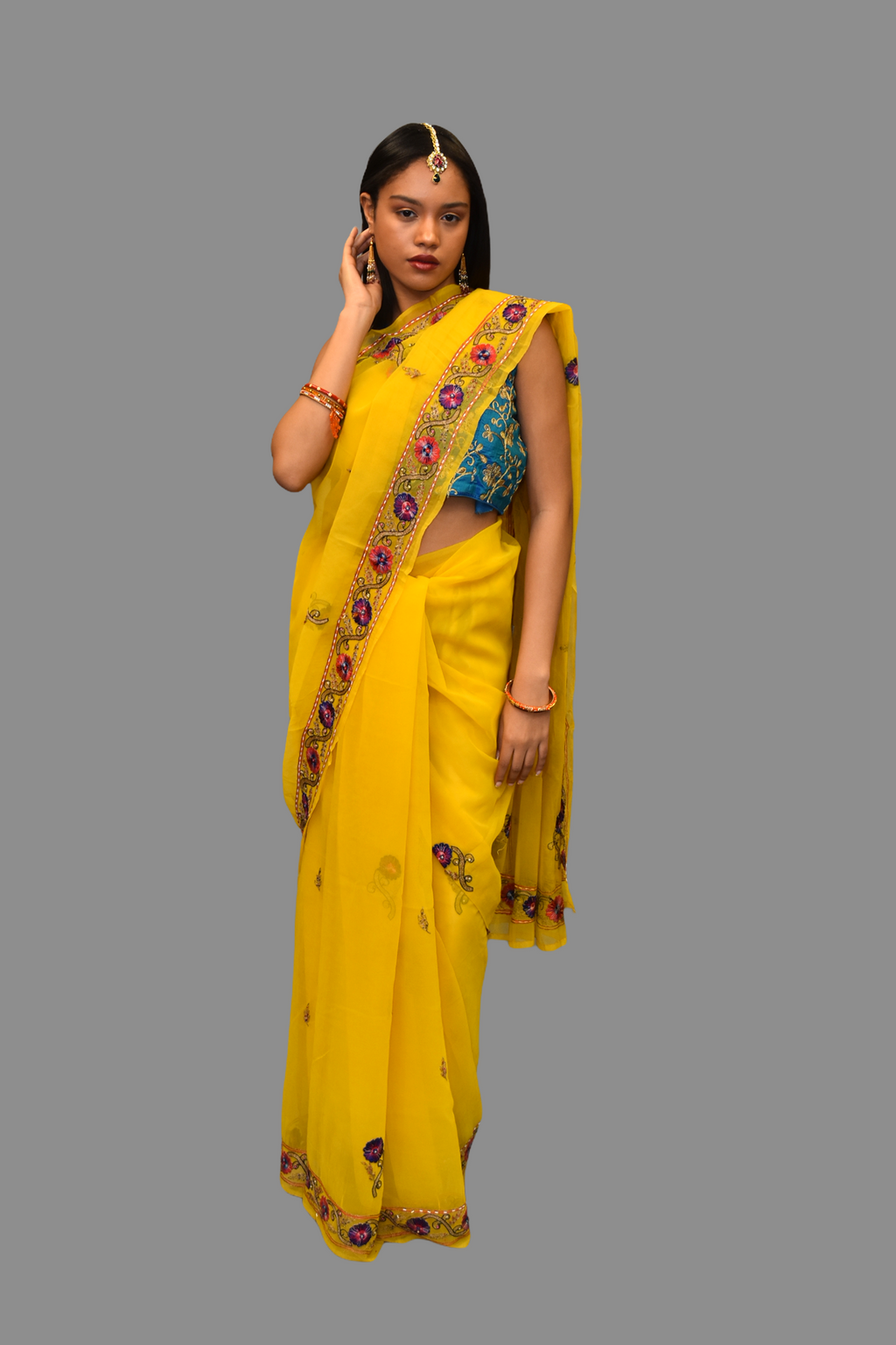 Silk Embroidered Bright Yellow Saree