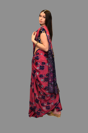 Silk Embroidered Punch Pink Saree With Contrast Navy Blue Embroidered Pallu