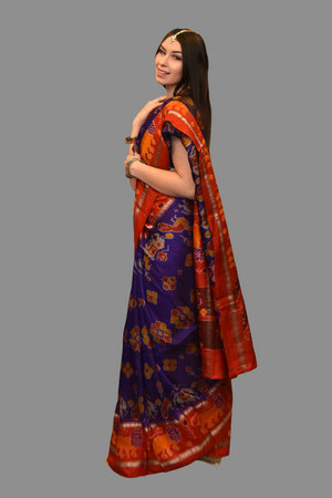 Silk Printed Purple Saree With Contrast Red Border