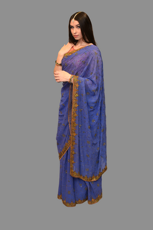 Silk Georgette Gold Embroidered Medium Purple Saree