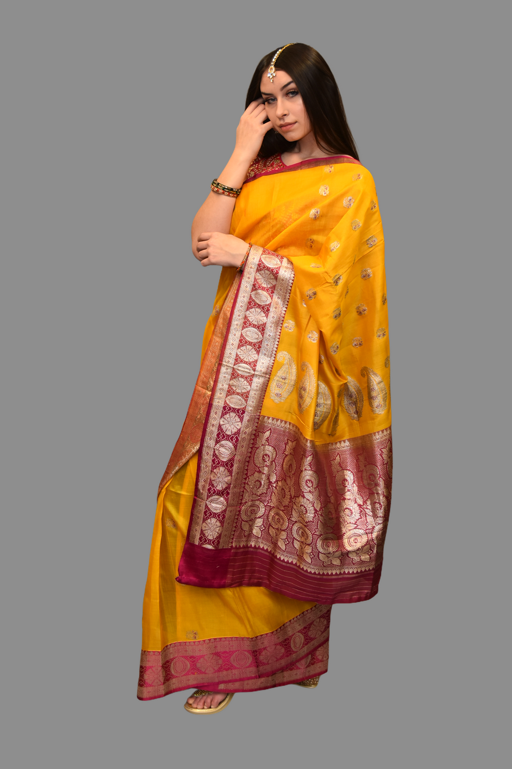 Silk Butterscotch Yellow Saree With Hot Pink Border And Pallu