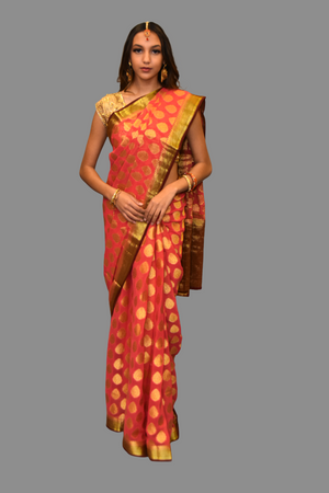 Peachy Salmon Georgette Chiffon  With Contrast Maroon Border Saree