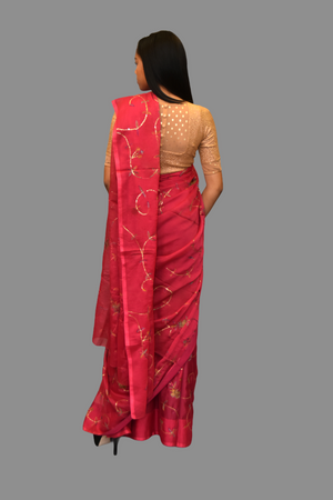 Silk Embroidered Magenta Saree