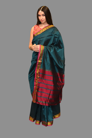 Silk Pine Green Saree With Contrast Hot Pink Pallu
