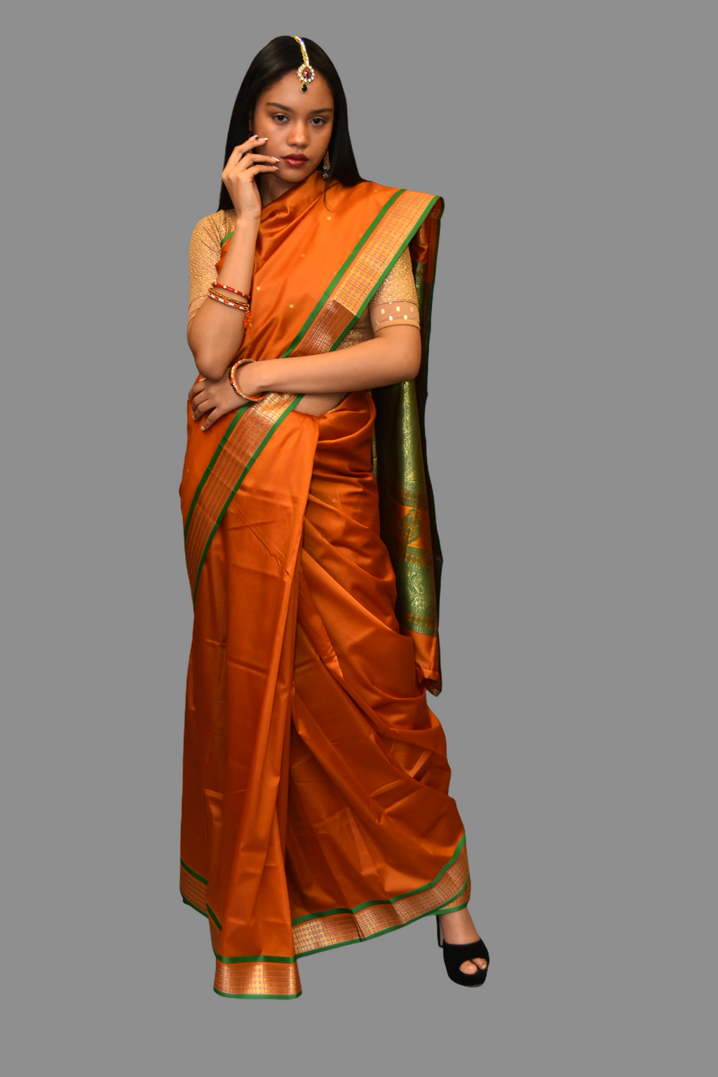 Silk Mustard Orange Saree With Contrast Green Pallu