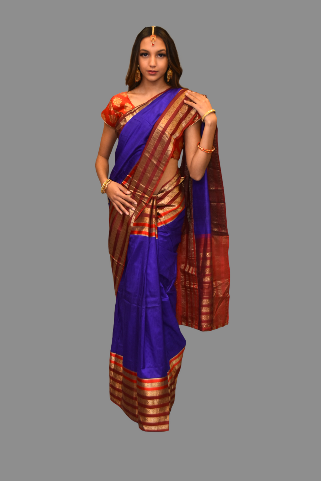 Silk Dark Purple Saree With Contrast maroon Pallu