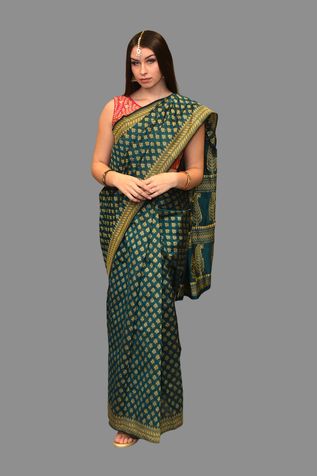 Cotton Printed Green Saree