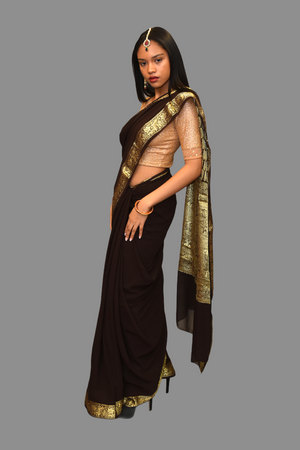 Silk Georgette Dark Chocolate Brown With Gold Border Saree