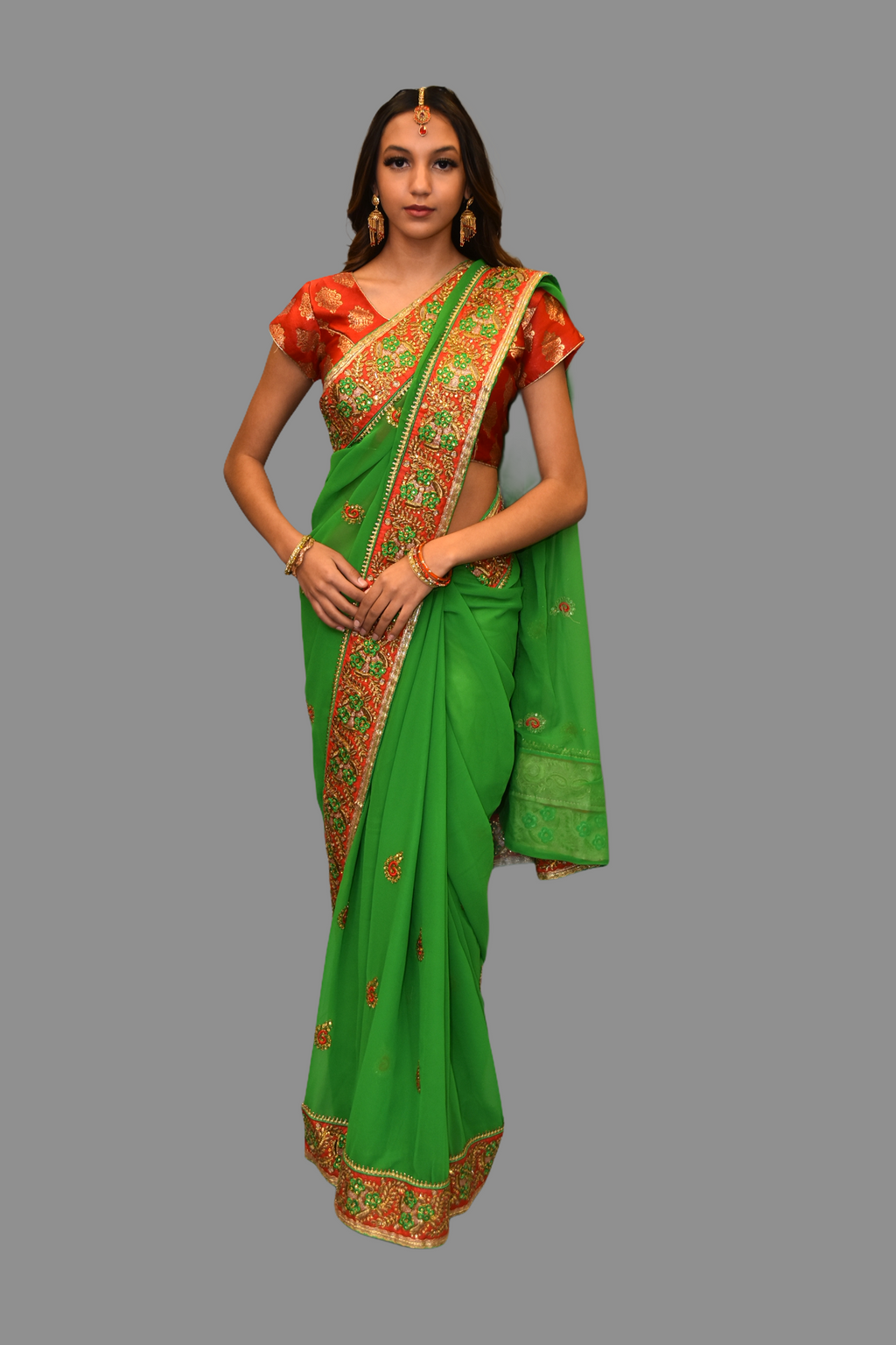 Silk Georgette Embroidered Green Saree