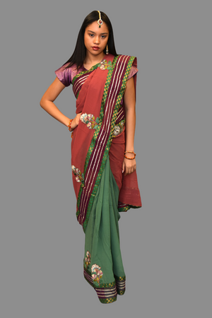 Silk Embroidered Fern Green Saree With Contrast Light Raspberry Wine Pallu