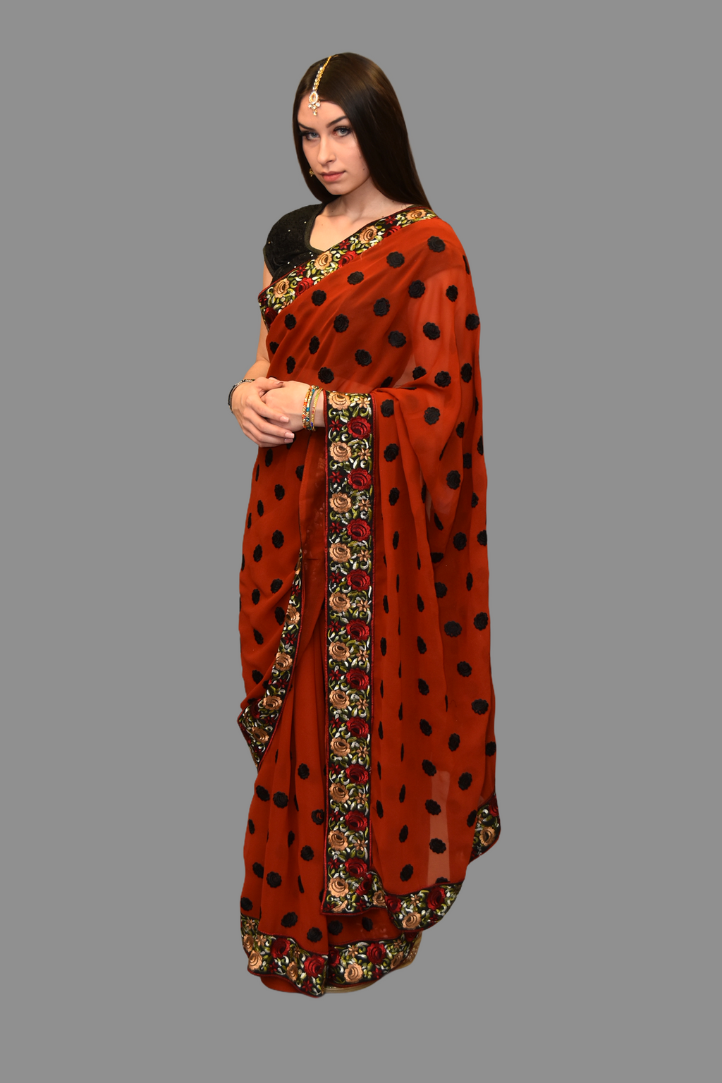 Silk Georgette Embroidered Cranberry Red Saree