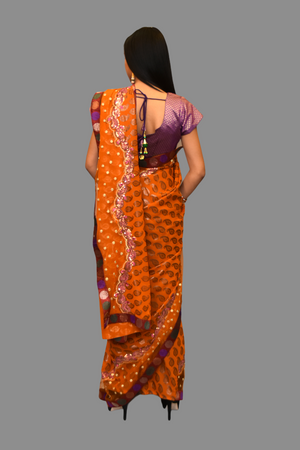 Silk Dark Mustard orange Embroidered  Saree