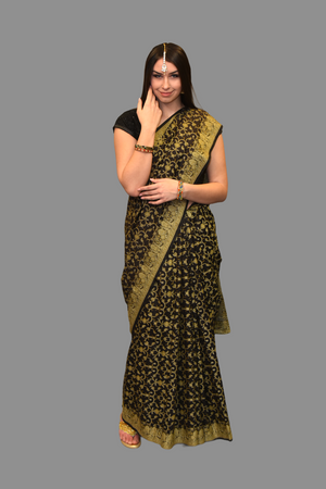 Silk Dark Chocolate Brown Printed Saree