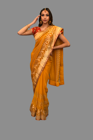 Silk Embroidered Georgette Mustard Gold Saree