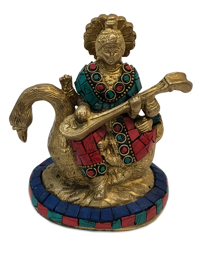 Brass Saraswati Turquoise And Coral Mosaic Statue