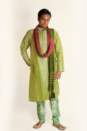 Formal Silk Two Tone Lime Green Kurta