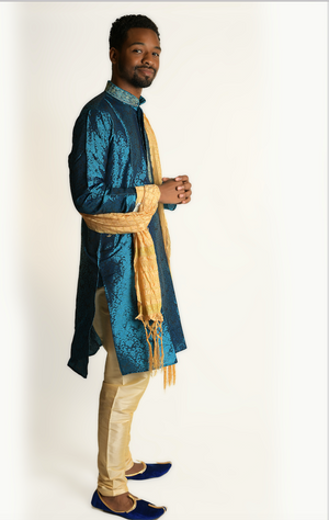 Formal Turquoise Silk Kurta