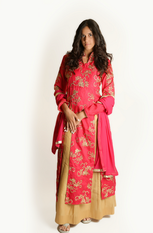 French Rose and Oat Anarkali Split Lehenga