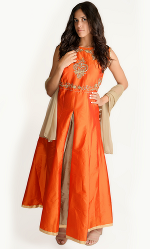 Blood Orange Embroidered Gown