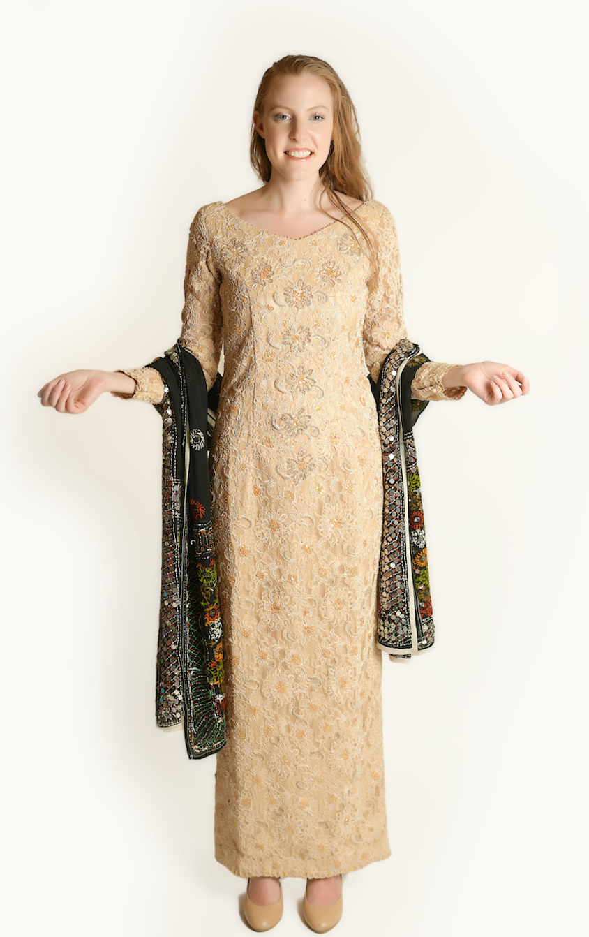 Formal Embroidered Shiny Sand Silk Gown