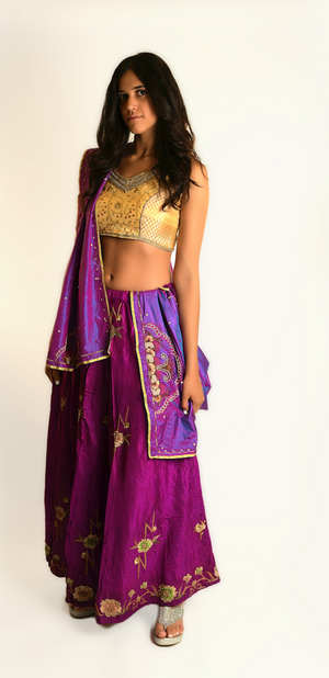 Fuchsia and Gold Lehenga