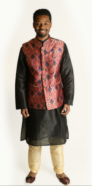 Silk Brocade Purplish Pink Modi Vest
