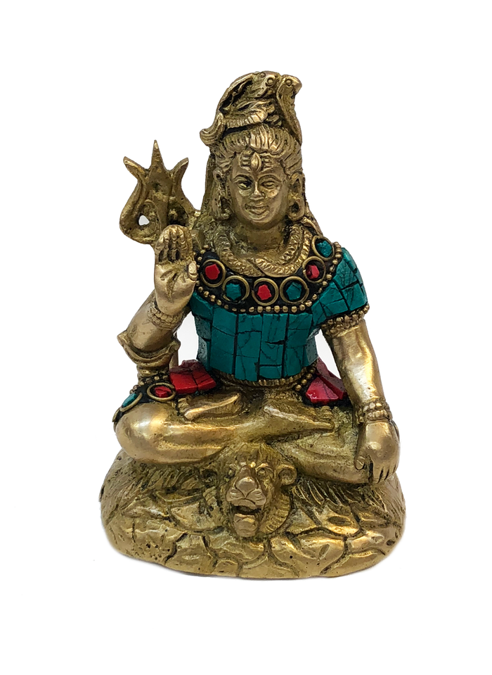 Brass Shiva Turquoise and Coral Mosaic Idol