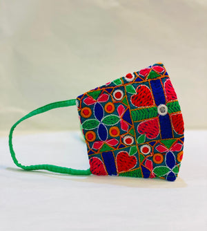 Hand Embroidered Fancy Green,Blue & Red Shadow Work Cloth Face Masks