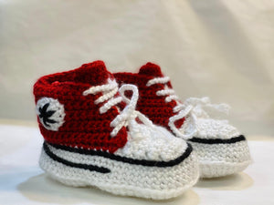 Handmade Crochet Red Converse Style Baby Booties