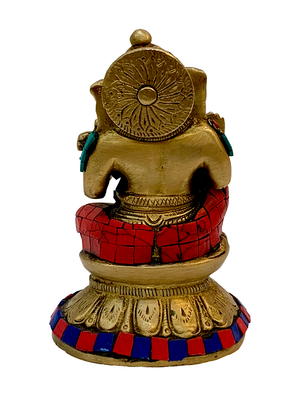 Brass Ganesha With Turquoise And Coral Mosaic Work Statue