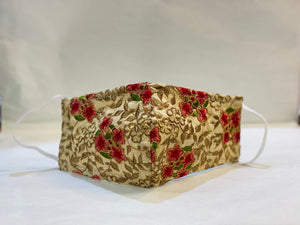 Hand Embroidered Fancy Floral Work On Beige Cloth Face Masks